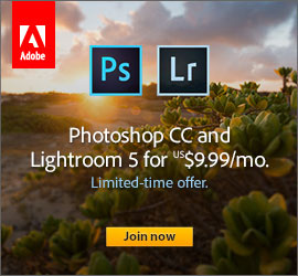 Limited Time Offer: Get Adobe Photoshop CC and Lightroom 5 for Only US$9.99/Month! (Regular Price)