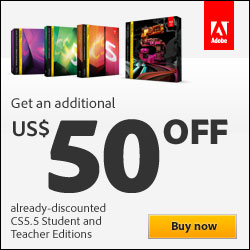 Save an Additional $50 off Adobe CS5 Student & Teacher Editions!