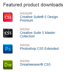 Adobe CS5 Featured Product Downloads