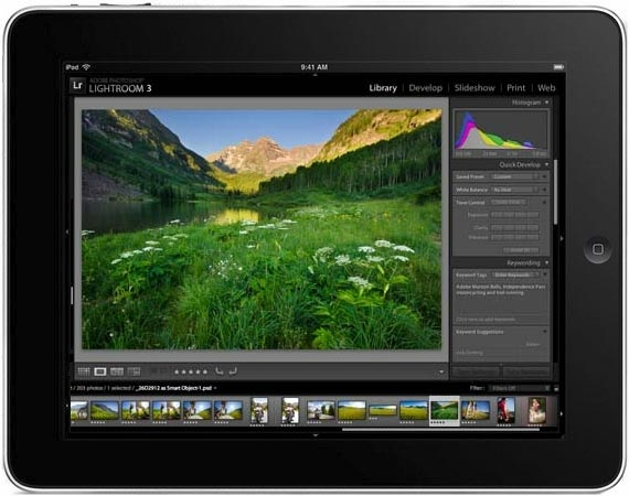 Adobe Lightroom on Apple iPad (simulated)