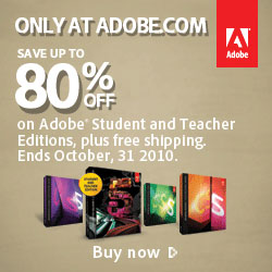 Save up to 80%, plus free shipping on Adobe Student & Teacher editions