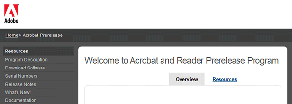 Welcome to the Acrobat and Reader Prerelease Program