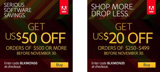 Save up to $50 on all Adobe products