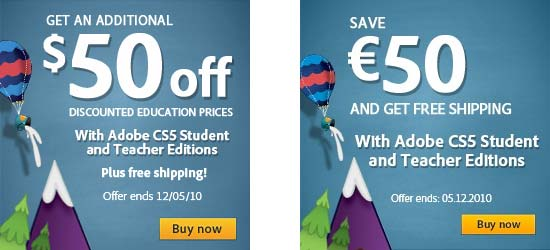 Save $50 extra on CS5 Education versions, plus free shipping