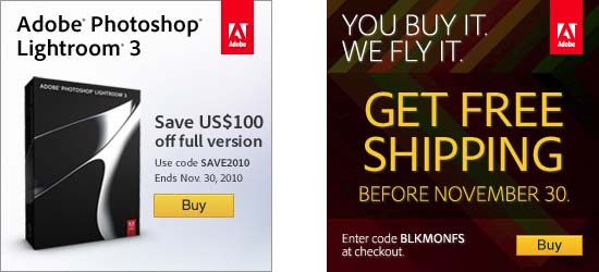 Get $100 off the full version of Lightroom 3, also free shipping