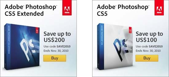 Save up to $200 on Adobe Photoshop CS5 with code!