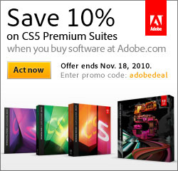 Save 10% on Adobe CS5 premium editions with special code