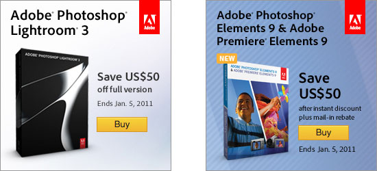 Save up to $50 on Adobe Lightroom 3 or Elements 9