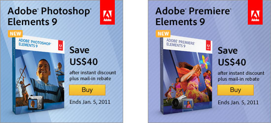 Save $40 on Adobe Photoshop/Premiere Elements 9
