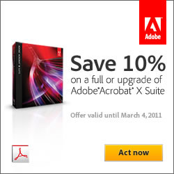 Save 10% on Acrobat X Suite, full or upgrade