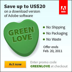 Save up to $20 on ANY Adobe software (with electronic delivery)