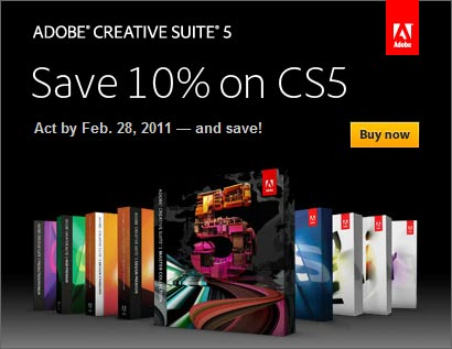 Save 10% on all Adobe CS5 software with promotion code