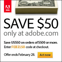 Save US$50 on Adobe orders of $500 or more with coupon