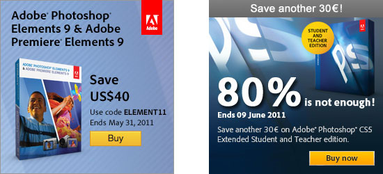 Special offers for Photoshop CS5.1 and Elements 9
