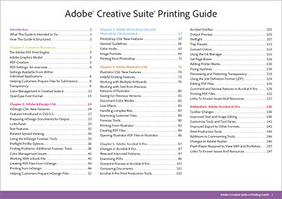 Free Adobe CS6 Printing Guide - The Table of Contents