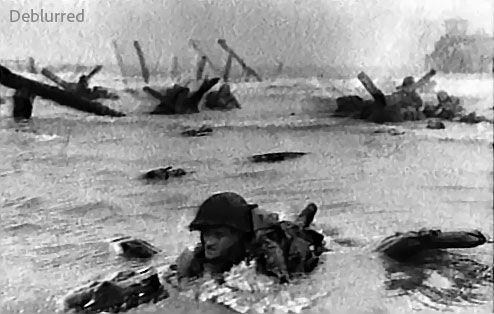 Photoshop (CS6?) Image Deblurring Demo: D-Day Photo – After
