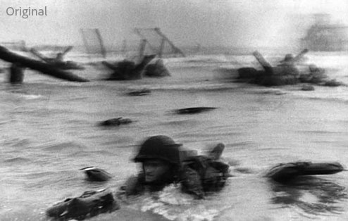 Photoshop (CS6?) Image Deblurring: D-Day Photo