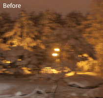 Adobe Photoshop Image Deblurring: Winter Scene (Roll Over or Tap for the Before & After)