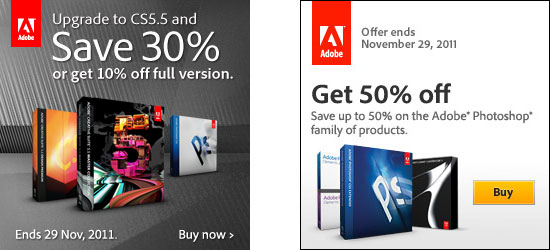 Up to 50% off Adobe Photoshop Products, and Up to 30% off CS5.5!