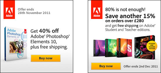 40% off Adobe Photoshop Elements 10; Save 15% in the Europe Education Store