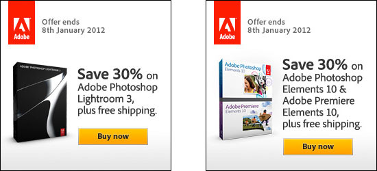 Save 30% on Adobe Lightroom 3 or new Photoshop & Premiere Elements 10!