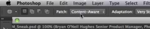 Photoshop CS6 Content-Aware Patch Tool