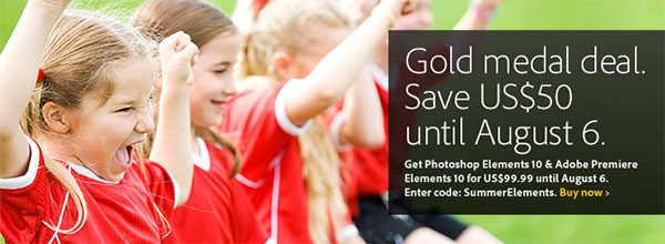 Save US$50 on Adobe Photoshop & Premiere Elements 10 with Coupon Code!