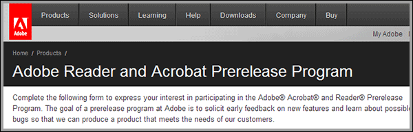 Sign up for a possible Adobe Acrobat 11 Prerelease Program