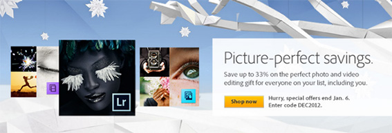See Adobe's Holiday Sale and Christmas Deals 2012! Get All December & January Coupon Codes