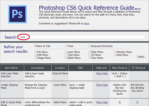 Try the Free Adobe Photoshop CS6 Quick Reference and Shortcut Guide