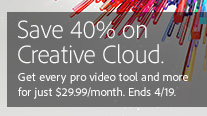 Take 40% off the Regular Price of Creative Cloud Membership with New NAB Promo Code
