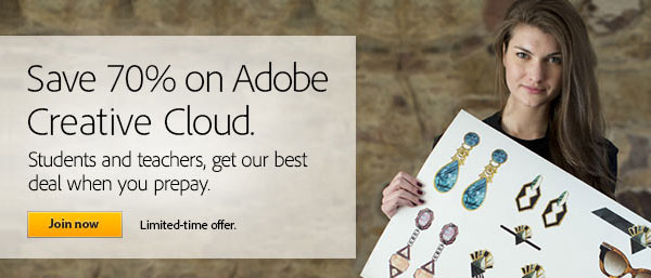 Get New Adobe CC (Creative Cloud) for $19.99/Month or $199/Year Prepaid - Save 60%-70% Off the Regular Price, No Promo Code Needed