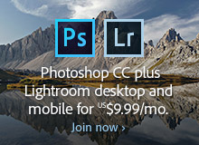 Worldwide Offer: Get New Adobe Photoshop CC plus Lightroom CC for .99 a Month (Regular Ongoing Price)
