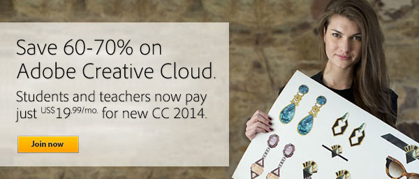 Get All-New Adobe CC 2014 (Creative Cloud) for $19.99/Month - Save 60%-70% Off the Regular Price, No Promo Code Needed