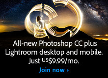 Worldwide Offer: Get New Adobe Photoshop CC plus Lightroom CC for $9.99 a Month (Regular Ongoing Price)