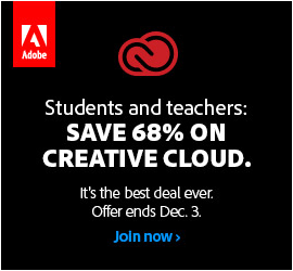 Adobe Black Friday Deal Now: Save Over 68% on the CC 2014 Education Editions!