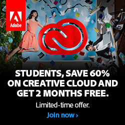 Adobe back-to-school promotion! For a limited time you can get two months FREE, plus a 60-70% discount on new CC 2015