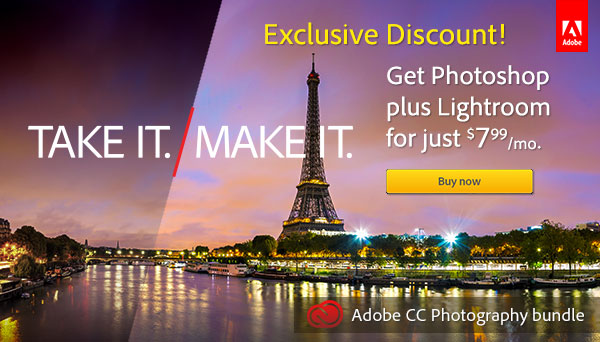 Exclusive ProDesignTools Discount! Get the Adobe Photography Bundle for Only US$7.99/Month. Offer Available Worldwide