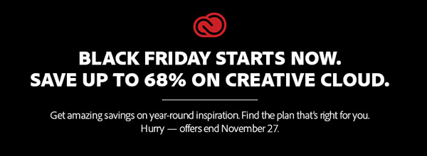 Black Friday Starts Now! See All of Adobe's 2015 Deals & Discounts