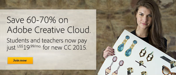 Get All-New Adobe CC 2015 (Creative Cloud) for $19.99/Month - Save 60%-70% Off the Regular Price, No Promo Code Needed