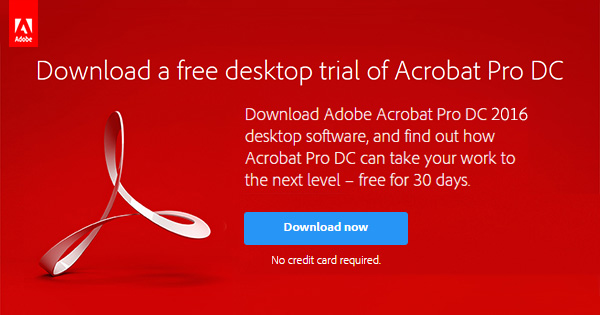 Acrobat Pro, Standard, Reader DC 2016/2015: Direct Download Links