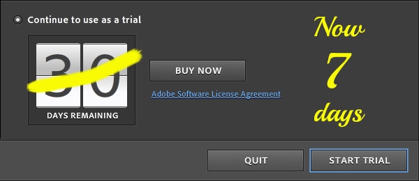 Read the Announcement: Adobe Reduces CC Free Trial Length to 7 Days