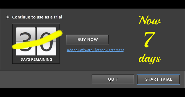 Alert: Adobe Reduces Free Trial Length for Creative Cloud to 7 Days