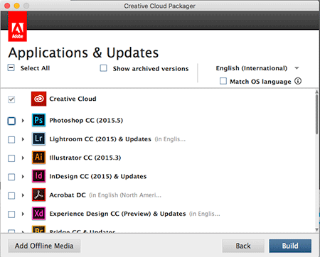 Creating a Package with the Adobe CC Packager