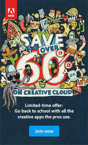 Adobe Back-To-School! You Can Get 60% off plus Two Months FREE When You Sign up for Creative Cloud