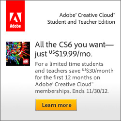 Get Adobe CS6 in Creative Cloud for only $19.99/month for students & teachers!