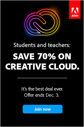 Cyber Week: Save 70% Now on the Creative Cloud 2021 Student & Teacher Edition
