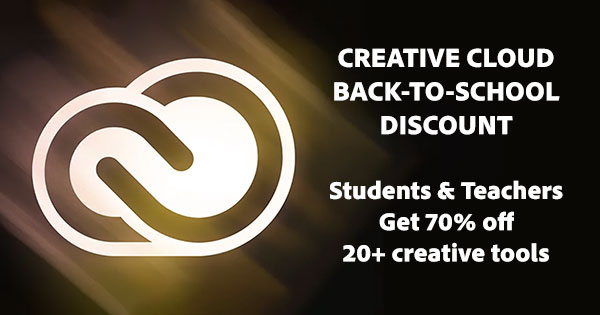 Adobe Back-To-School! Get a total discount of 70% off Creative Cloud